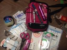 ピンクの防災バッグ