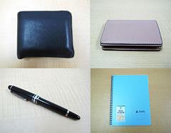 (左上)ブルガリの財布(右上)名刺入れ(左下)モンブランのペン(右下)ノート