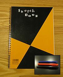 スケッチブックとぺんてる製のペン