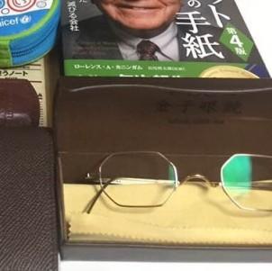 8角形の金子眼鏡、鼻のところが18金です。